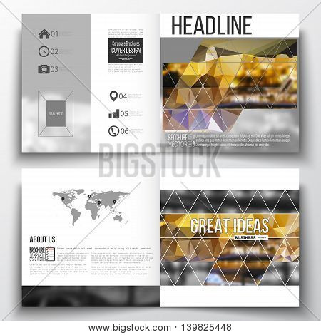 Vector set of square design brochure template. Colorful polygonal background, blurred image, night city landscape, modern stylish triangular vector texture.