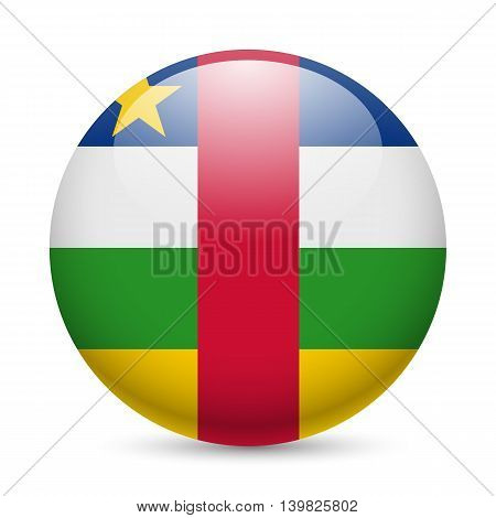 Flag of Central African Republic as round glossy icon. Button with flag colors