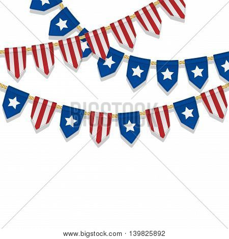 Vector colorful bunting decoration in colors of USA flag. Garland pennants on a rope for american party carnival festival celebration special events. Patriotic background with stars and stripes.