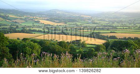 Misty morning over Axe valley in Devon England