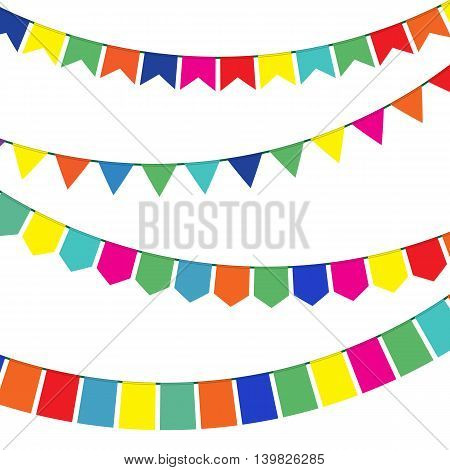 Bunting and garland set. Colorful festive flags. Vector illustration in flat style. Elements for celebrate, party or festival design.