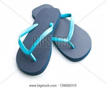 Blue flip flops isolated on white background.