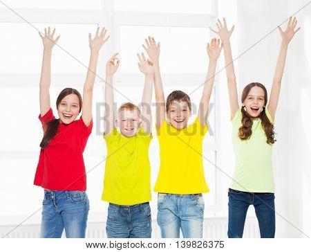 Happy group children in school