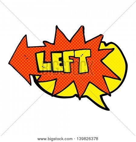 freehand drawn comic book speech bubble cartoon left symbol