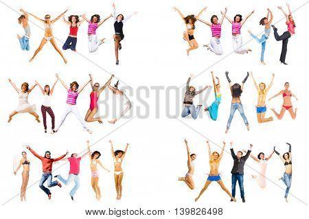 People Celebrating Jumping Together