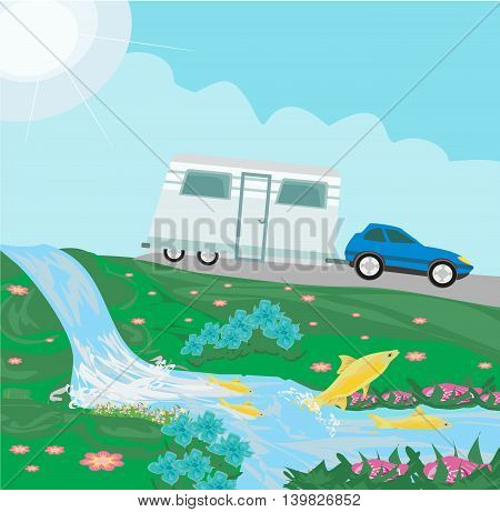 driving camping over waterfall landscape , vector illustration