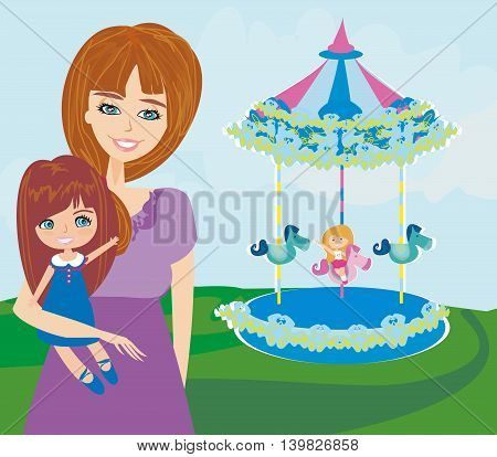 Happy daughter and mother on caroussel  , vector illustration