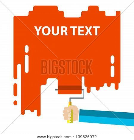 Mens hand holds a paint roller with a red color. Interior design, repair concept. vector illustration flat design. Blank template for your text