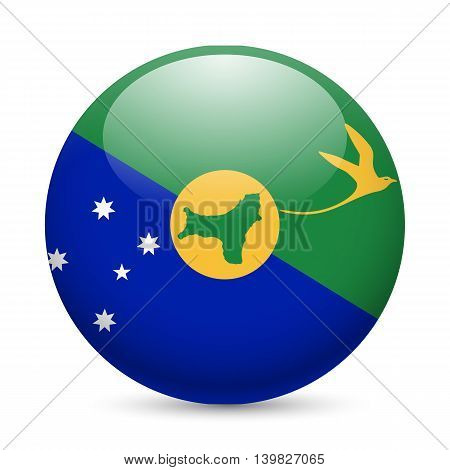 Flag of Christmas Island as round glossy icon. Button with flag design