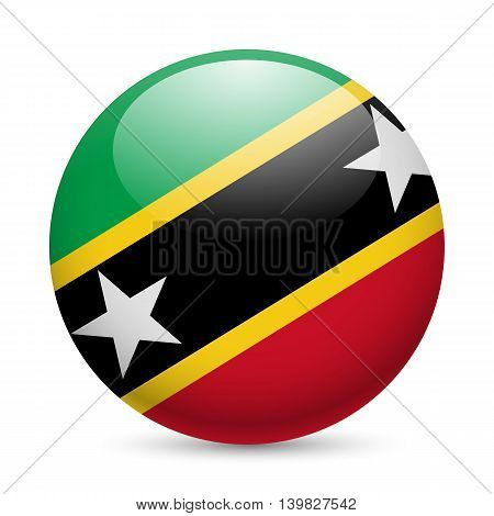 Flag of Federation of Saint Kitts and Nevis as round glossy icon. Button with flag design