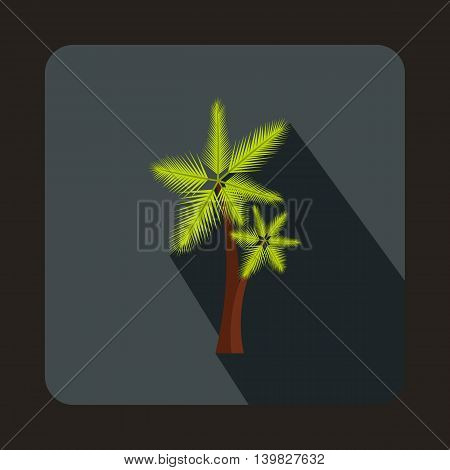 Palm tree icon in flat style on a gray background