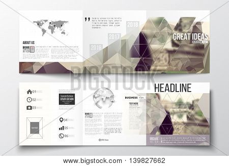 Vector set of tri-fold brochures, square design templates with element of world map and globe. Polygonal background, blurred image. Modern triangular vector texture.