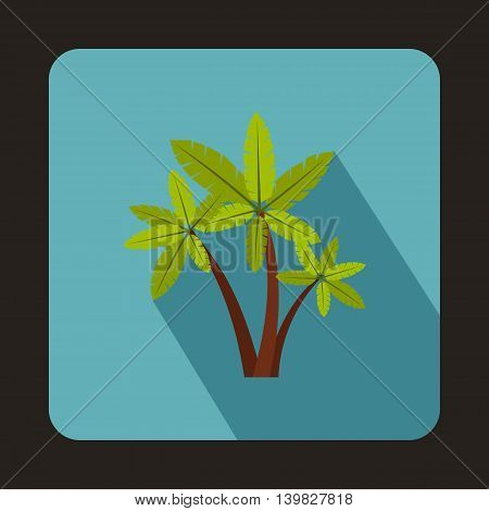 Three palm trees icon in flat style on a baby blue background
