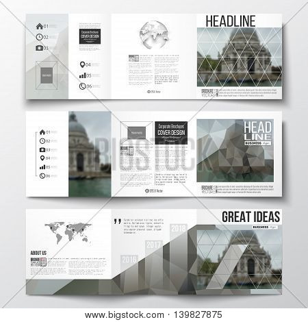 Vector set of tri-fold brochures, square design templates with element of world map and globe. Polygonal background, blurred image, urban landscape, modern stylish triangular vector texture.
