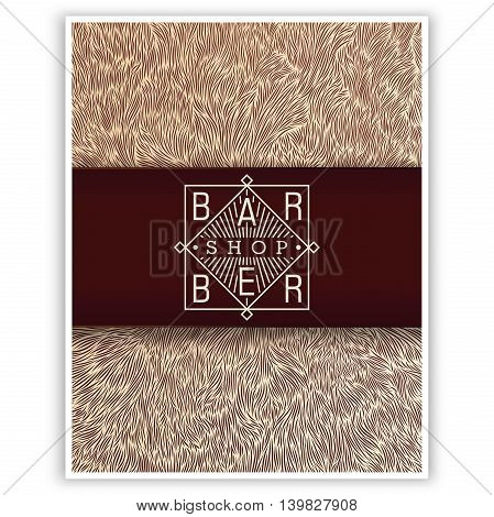 Stylized design for Barbershop. Trendy linear emblem and the author's texture. Ready for print web and other.