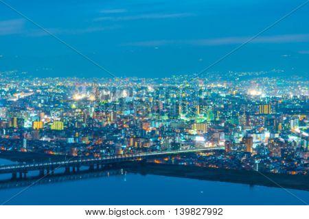 Abstract blur Osaka city view