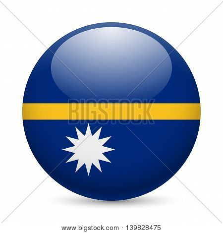Flag of Nauru as round glossy icon. Button with Nauruan flag