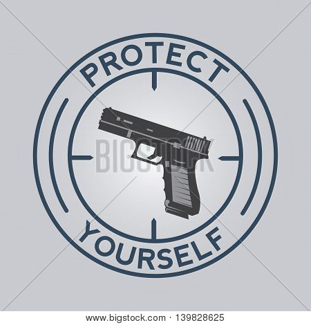 Icon with gun and protect yourself. Vector illustration.