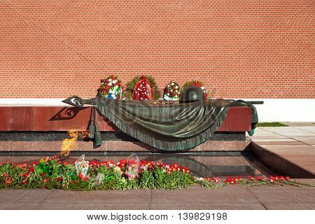 Eternal flame in Alexander's garden in Moscow, Russia. Moscow famous monument. Place of honor