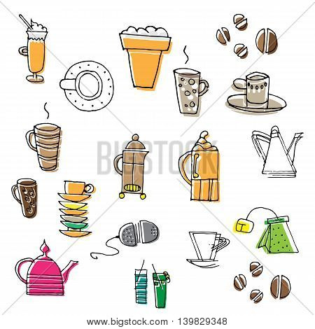 Set of hand drawn coffee and tea sketches. Vector illustration.