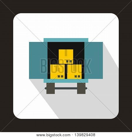 Truck loaded with boxes icon in flat style on a white background