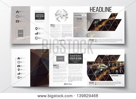 Vector set of tri-fold brochures, square design templates with element of world globe. Dark polygonal background, blurred image, night city landscape, Paris cityscape, modern triangular vector texture