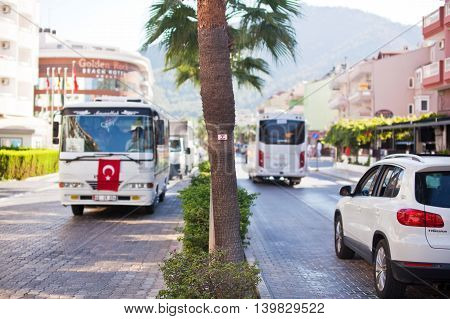 MARMARIS, TURKEY - 14 SEPTEMBER 2015: Movement public transport on city street.