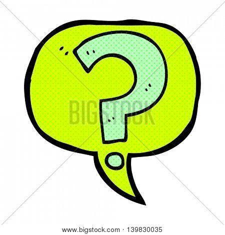 freehand drawn comic book speech bubble cartoon question mark