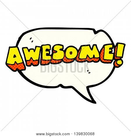 freehand drawn comic book speech bubble cartoon awesome word