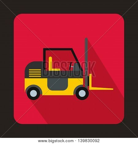 Stacker loader icon in flat style on a pink background