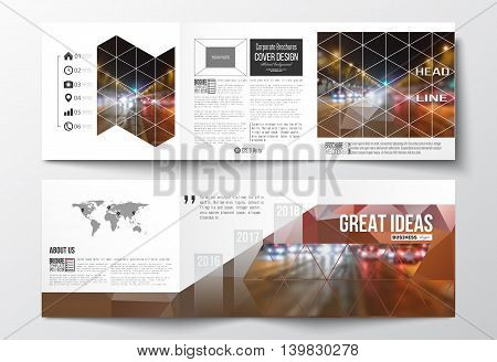Vector set of tri-fold brochures, square design templates with element of world map. Dark polygonal background, blurred image, night city landscape, car traffic, modern triangular texture.