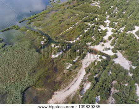 Summer Time Lake And Green Forest, In Poland Lanscape. View From Above.