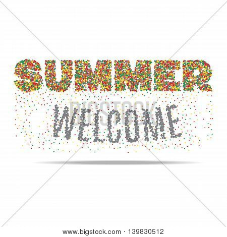 Welcome summer in colored bubbles on white background. Vector illustration.