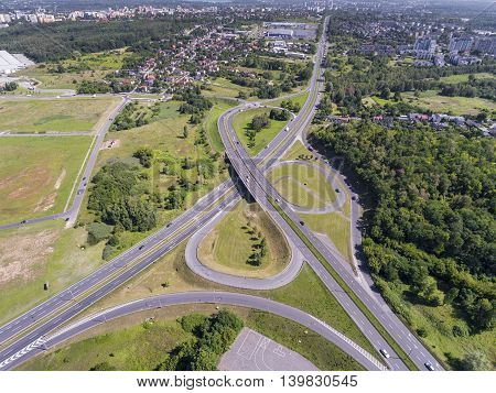Aerial view of busy road in Sosnowiec Poland.