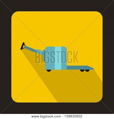 Manual forklift pallet stacker truck icon in flat style on a yellow background