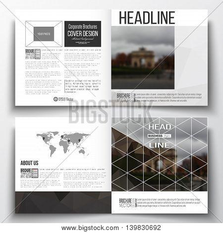 Vector set of square design brochure template. Polygonal background, blurred image, urban landscape, Paris cityscape, modern triangular vector texture.