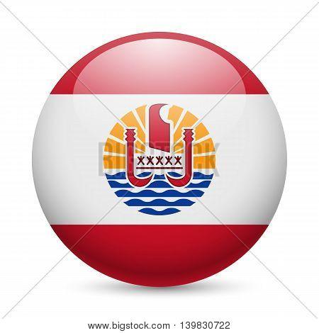 Flag of French Polynesia as round glossy icon. Button with flag design