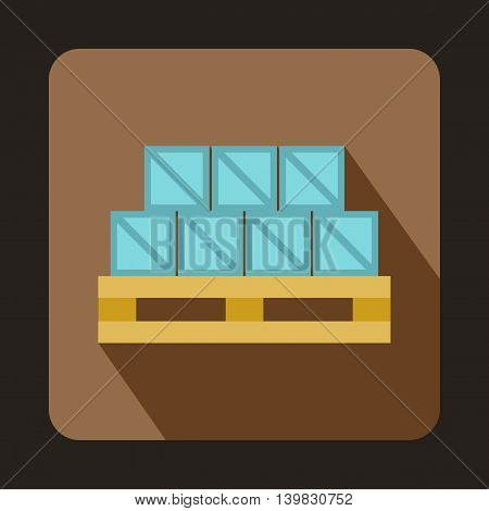 Boxes on wooden palette icon in flat style on a coffee background