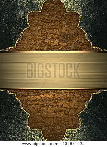Wooden Texture With Grunge Frame And Gold Plate. Template For Design. Copy Space For Ad Brochure Or