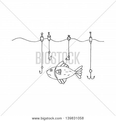 Stylized icon with big fish caught the rod. Vector illustration.