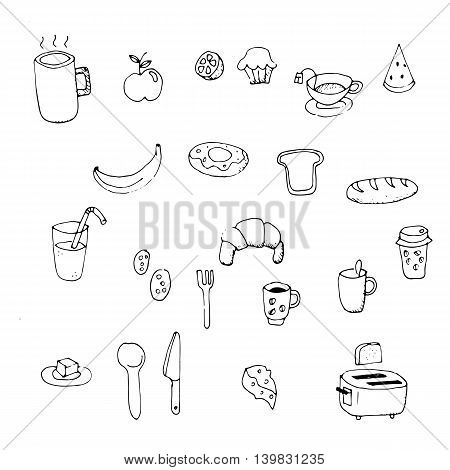 Set of morning breakfast doodle. Vector illustration.