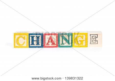 photo of a alphabet blocks spelling CHANGE isolate on white background