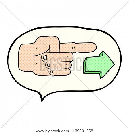 freehand drawn comic book speech bubble cartoon pointing hand with arrow