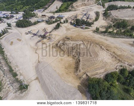 Aerial View Of Excavator And Truck Working On The Field Of Sand Mine In Poland.