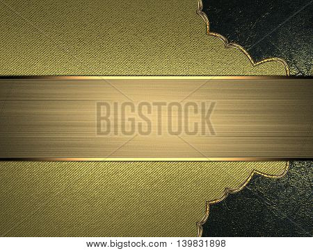 Pattern With Nameplate For Text On Gold Texture. Template For Design. Copy Space For Ad Brochure Or