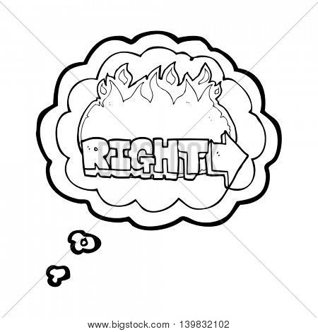 freehand drawn thought bubble cartoon right symbol