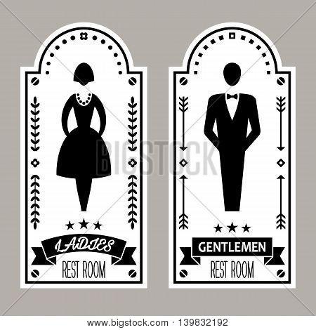 Restroom Premium Retro Signs Vector Lady & Gentleman Collection, vector illustration