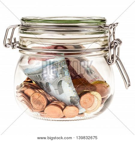 Jar With Money Isolated