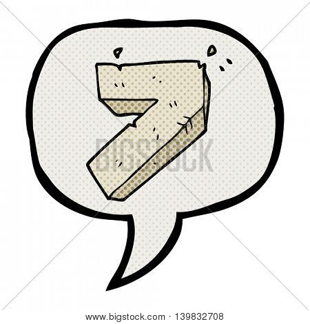 freehand drawn comic book speech bubble cartoon stone number seven