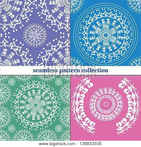 vector seamless patterns beautiful Oriental motifs circle